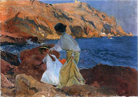 'Clotilde and Elena on the Rocks at Javea', Oil by Joaquin Sorolla Y Bastida (1863-1923, Spain):