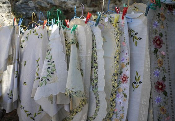 White floral tablecloths