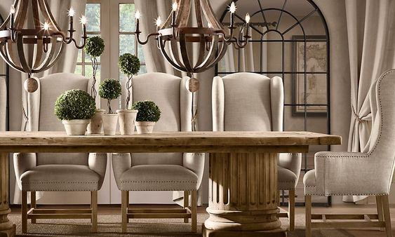 Dining Room With Double Chandelier Topiary Centerpiece