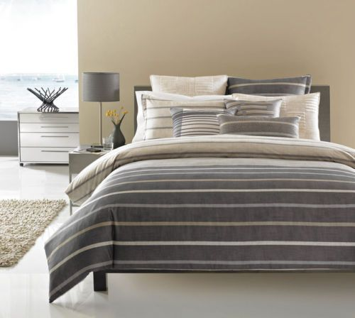 """HOTEL COLLECTION """"COLONNADE"""" FULL/QUEEN DUVET COVER GREY #HotelCollection"""