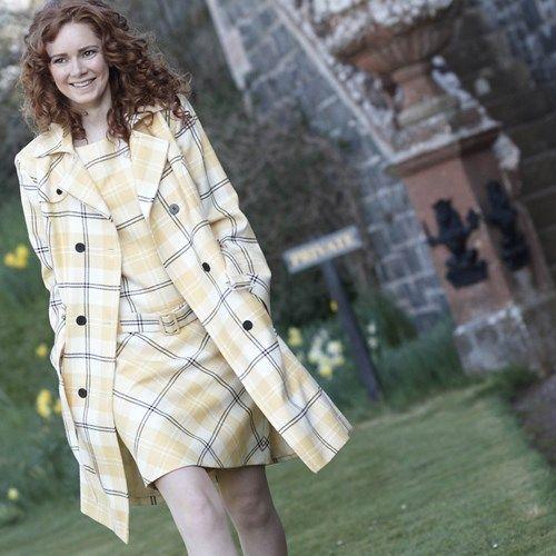 Tartan Shift Dress and Tartan Trench Coat in Ailsa Yellow Tartan