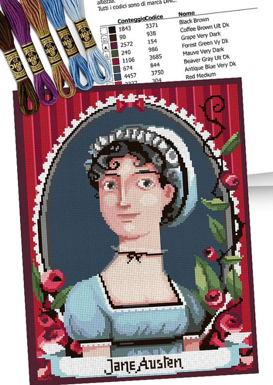 COUNTED STITCH pattern - Jane Austen portrait -PDF Instant download - Suitable for cross stitch and needlepoint