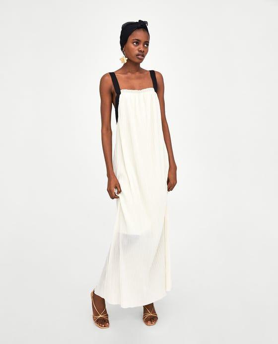 VESTIDO LARGO PLISADO | Vestido largo plisado, Vestidos