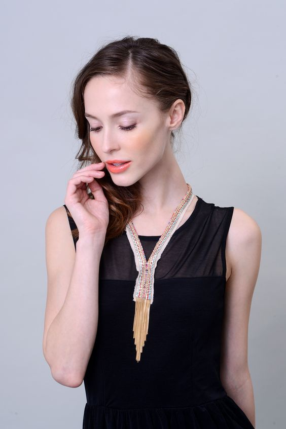 Marion Necklace With Gold Plated Fringe, Hand Embroidery of Crystal And Multi-Color Beads on Silk Fabric by M.L.C US $426  www.the9thmuse.com #hongkong #online #shop #store #fashion #accessories #marie #laure #chamorel #jewelry #newyork