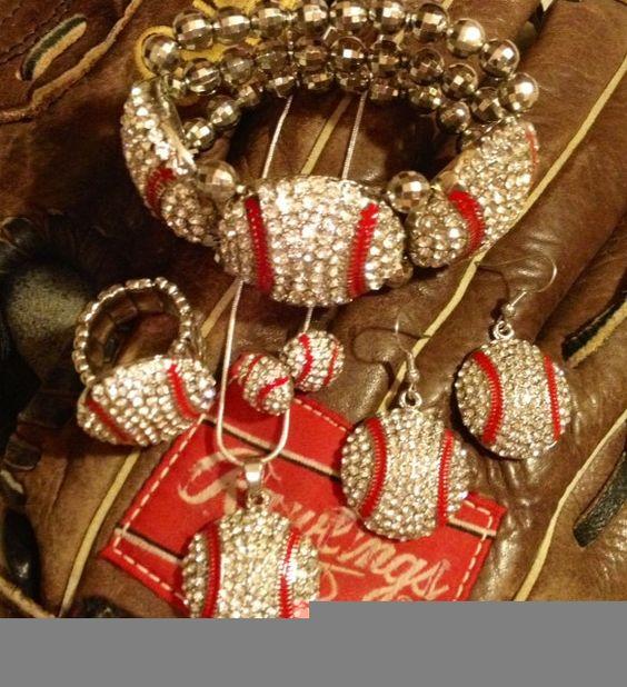 Huge Lot Baseball Jewelry Necklace Earrings Bracelet Ring BASEBALL MOM BLING. $34.99, via Etsy.