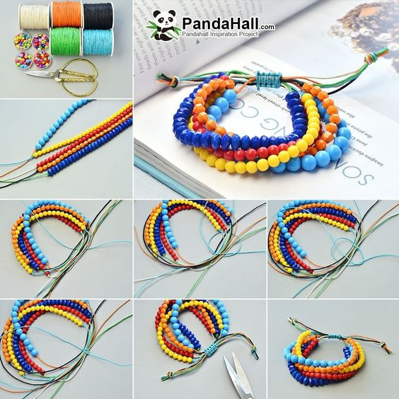 Tutorial on making a mixed color beaded bracelet. A colorful bracelet like a rainbow. Here you will find what you want…