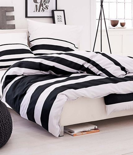 Monochrome bedroom. Striped bedding