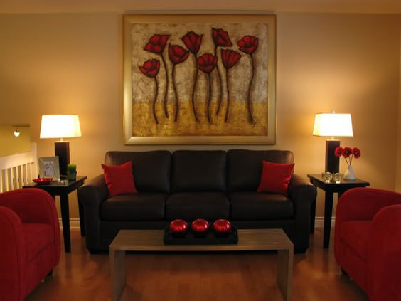 Red accents sofas and red on pinterest for Brown and red living room ideas