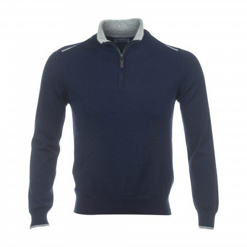 Cashmere 2ply Zip Neck Sweater