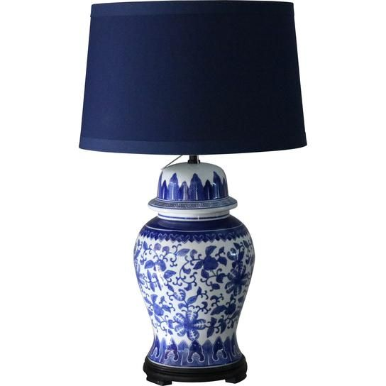 Lotus Lamp With Navy Shade Blue And White Lamp Lotus Lamp Lamp