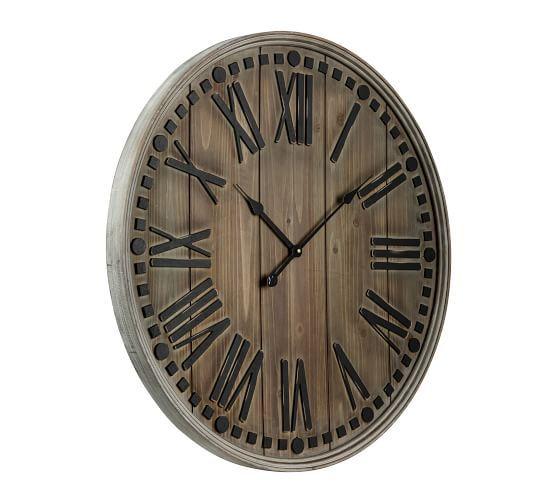 Oversized Wooden Wall Clock In 2020 Wall Clock Clock Farmhouse Wall Clocks