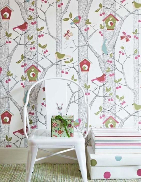 kinderzimmer ideen tapeten mädchen junge wald bäume vögel, Moderne deko