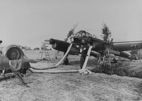Warm up the engine of the German reconnaissance aircraft Focke-Wulf Fw.189.