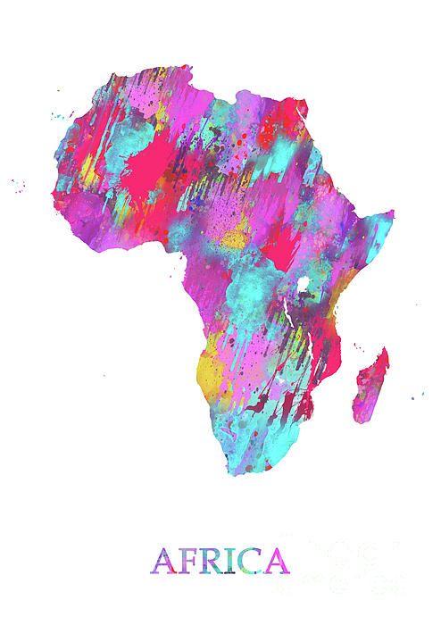 Africa By Prar Kulasekara Africa Map Art Abstract Watercolor