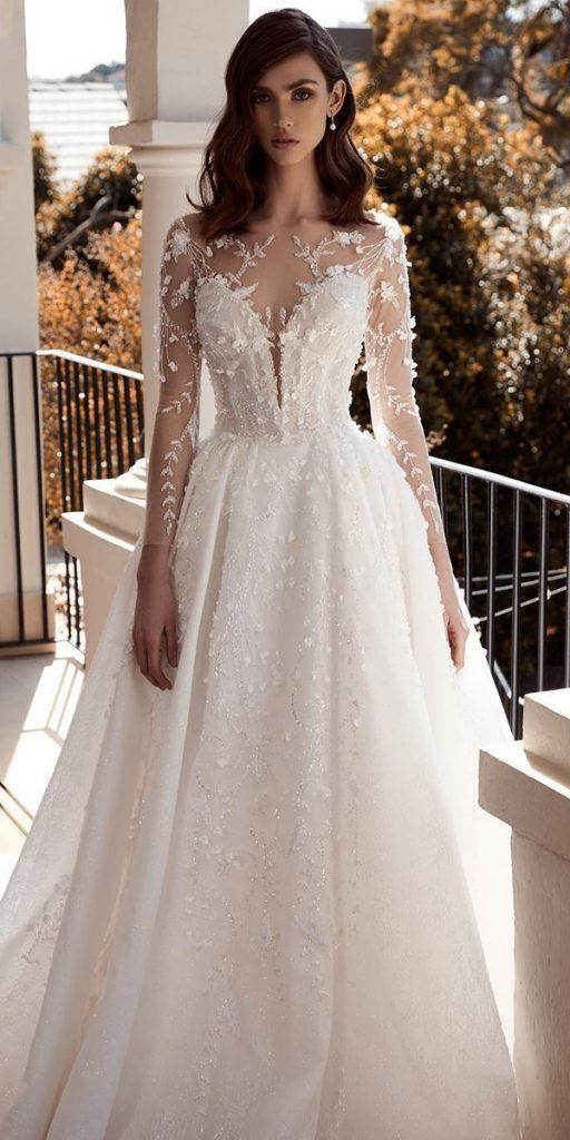 20 Classy Wedding Gowns Lace Fit And Flare Bridal Style For Simple Princess Look In 2020 Ball Gowns Wedding Wedding Dress Long Sleeve Wedding Dresses