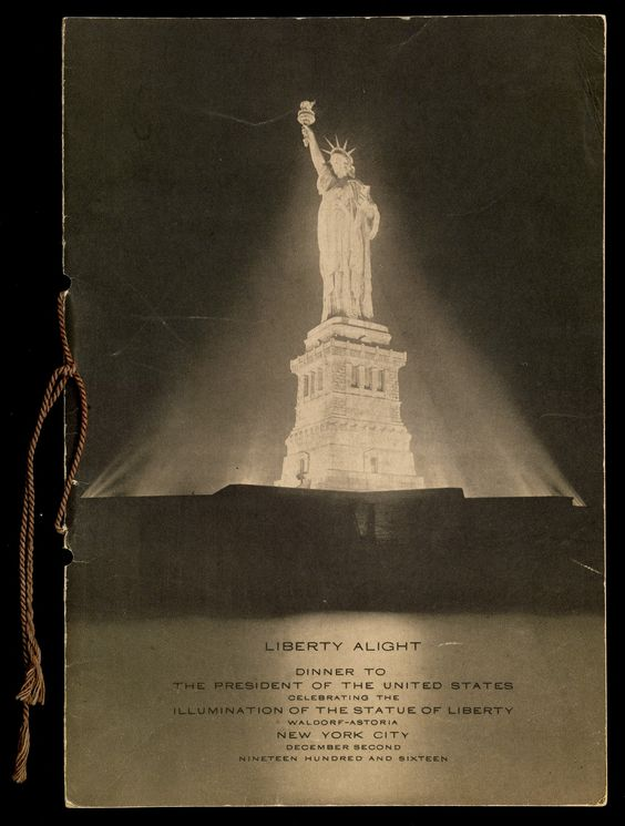 """Cover of """"Liberty alight : dinner to the President of the United States, celebrating the illumination of the Statue of Liberty"""""""