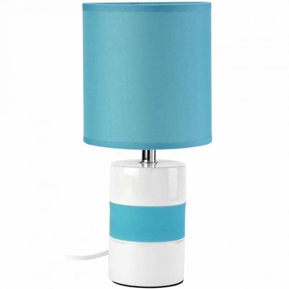 Lampe poser en c ramique blanche et bleu turquoise - Lampe a poser ceramique ...