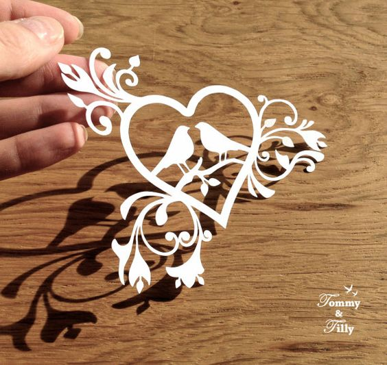 Love birds, Papercutting and Heart designs