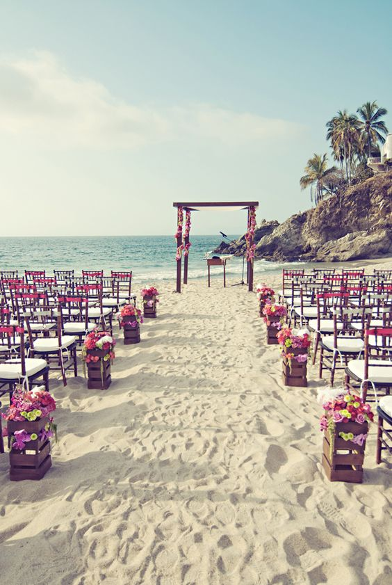 I am having a destination wedding! Just like this!! Modern vintage wedding ceremony decor.: