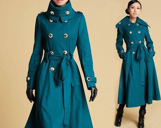 cashmere coat military jacket women military coat shawl Collar