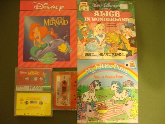 3 Vintage Story Books with Cassettes Disney and My Little Pony