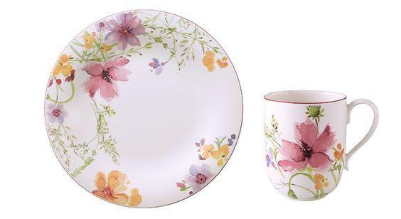 #Romantique #Assiette et #mug en #porcelaine