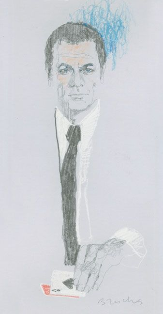 "Tony Curtis Bernie Fuchs ""Tony Curtis"" Sketch For TV Guide Cover 1975 23"" x 8"" Image Graphite/Colored Pencil/Gouache On Board"