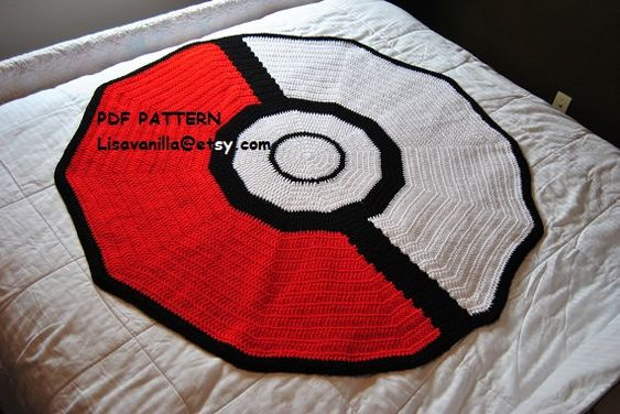 Poke ball Blanket Crochet pattern/ pokemon/ Mario\ gamer | Crochet ...