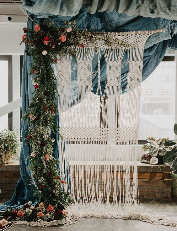 Macrame wedding ceremony backdrop: