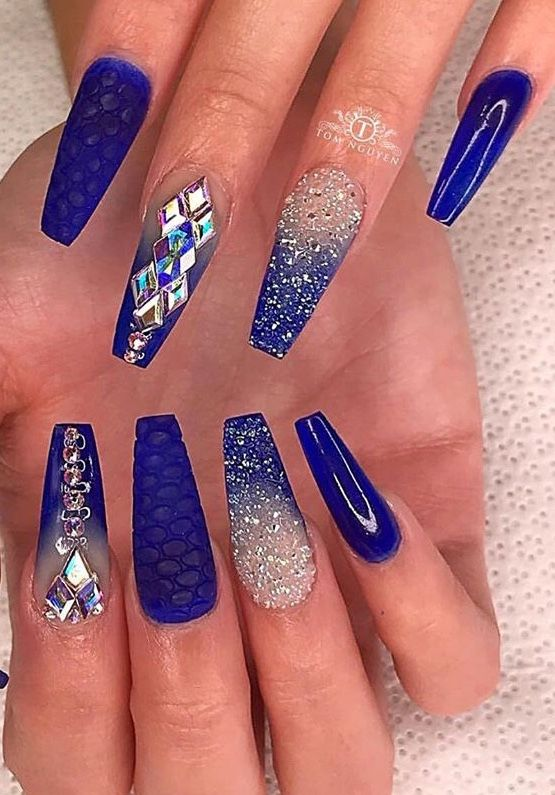 Nails Blue Acrylic Nails Blue Coffin Nails Coffin Nails Designs