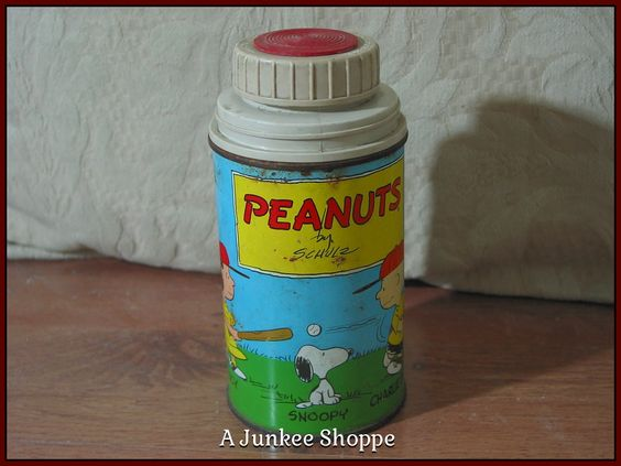 PEANUTS 1959 Thermos Damaged Charlie Brown Snoopy Lucy Linus No Lunchbox Used Junk 940  http://ajunkeeshoppe.blogspot.com/