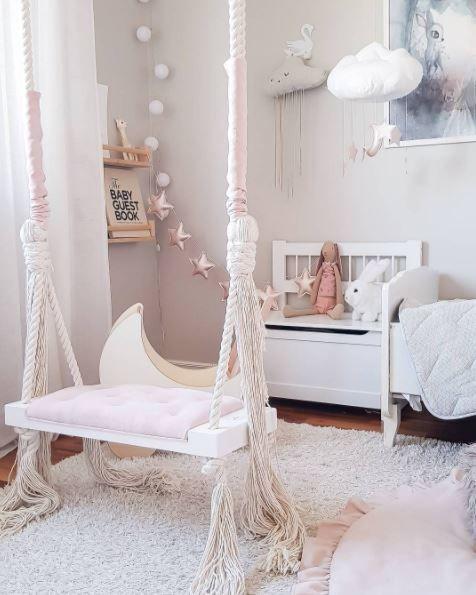 Glamour Swing Pink Swingchair Girls Room Design Bedroom Swing Elegant Nursery Room