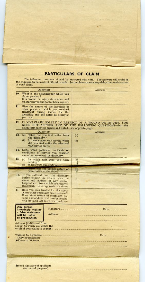 Service and Release Book - pension service claim form