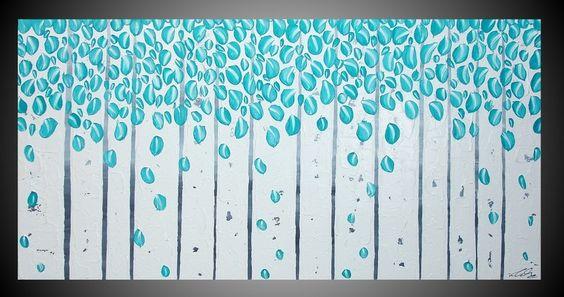 "Tamaño: 1 Pintura: 120 cm x 60 cm x 1,8 cm    Título: "" modern forest ""    Color: Negro, Blanco, Gris, Azul turquesa. Muy estructurado. 3D - efecto..."