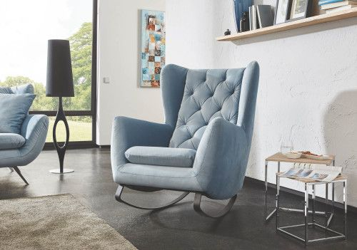 Candy Sixty Schaukelsessel 2f Sessel Velour Velvet Light Blue Rocking Armchair Furniture Room