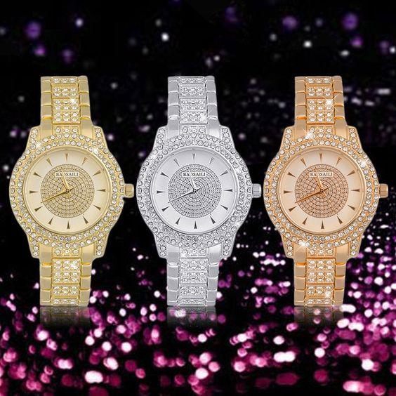 Luxury Women Ladies Rhinestones Style Diamond Plated Metal Strap Wrist Watch#X
