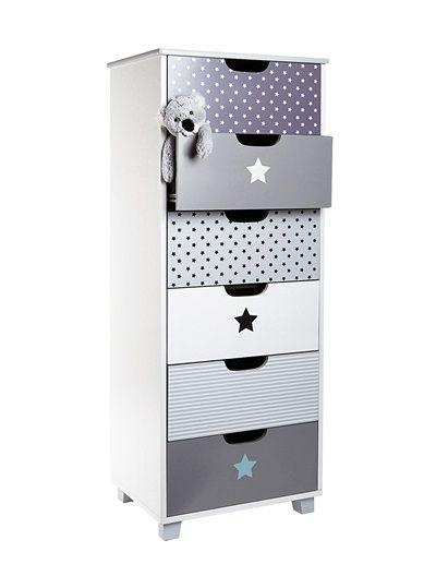 Commode 6 tiroirs type semainier elefanbulle b b blanc casse vertbaudet en - Commode chambre garcon ...
