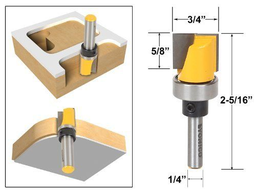 Yonico 14172q Template Trim Router Bit With Bottom Cleaning 1 4