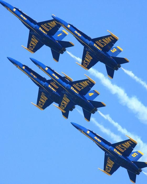 Blue Angels U.S. Navy Or just the sound of one of these planes Mmmmm happy!