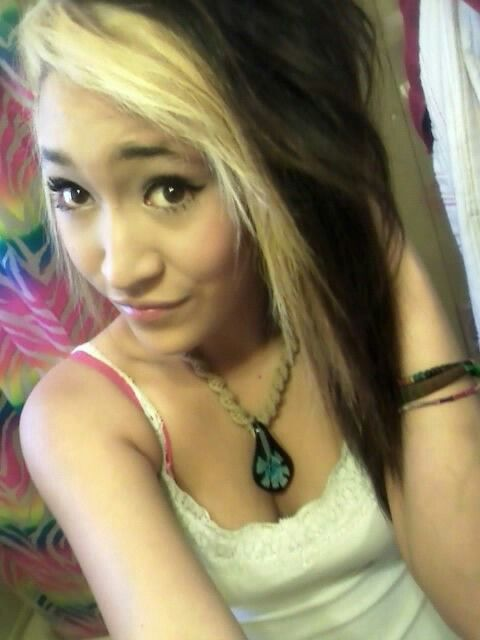 Dark hair with blonde bangs, hot emo girl suck