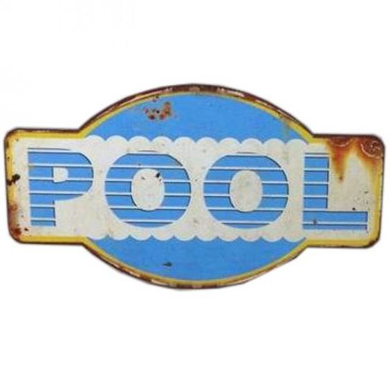 PLACA METAL POOL 38X21.5