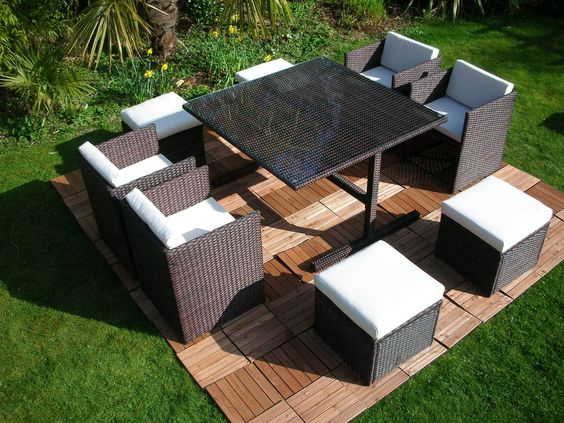 RATTAN WICKER CONSERVATORY OUTDOOR GARDEN FURNITURE PATIO CUBE TABLE CHAIR  SET in Garden   Patio. Pinterest   The world s catalog of ideas