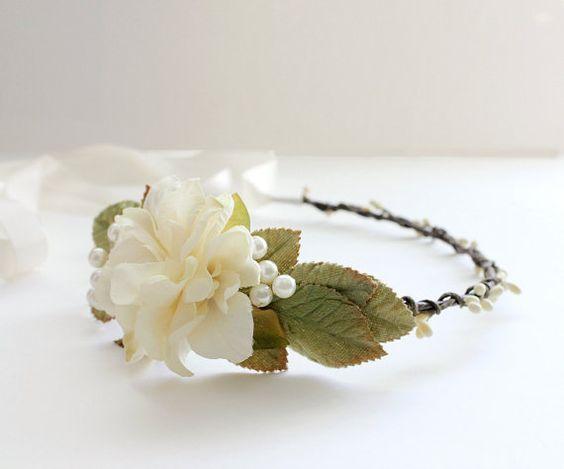 Woodland Bridal Headpiece, Ivory Floral Crown, Bohemian, Rustic, rustic crown, Woodland, spring wedding,  hair Accessories, Wedding
