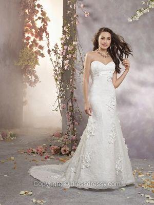 Sheath/Column Sweetheart Lace Satin Chapel Train White Flowers Wedding Dresses -$244.99