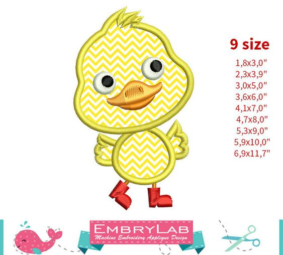 Applique Design Mini Spring Baby Duck Walking 16145 by EmbryLab