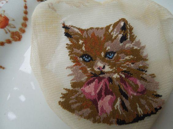 Vintage Petit Point Tiny Cat by LemonIceBoxPie on Etsy, $11.50