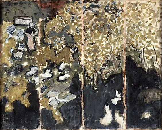 """Pierre Bonnard (1867-1947) Proyecto de biombo """"con conejos""""1894-1895"""