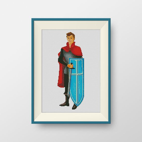 BUY 2, GET 1 FREE! Prince Phillip cross stitch pattern, Instant Download, Disney Princes cross stitch pattern, P188 by NataliNeedlework on Etsy
