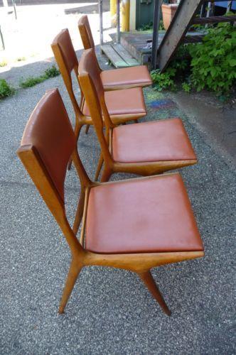 4 Carlo De Carli Dining Chairs Mid-Century 1950's Wood Cushion Seats Italian
