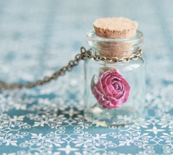Rose in the bottle necklace
